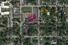 Satellite photo overlaid with historic location of high school