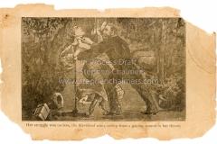 """Her struggle was useless"" 19th century woodcut"