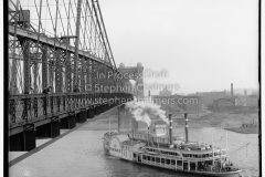 1906 photo of (John A. Roebling ) suspension bridge (one, of several, locations that was thought to be a possible location Jackson disposed of Bryan's head).